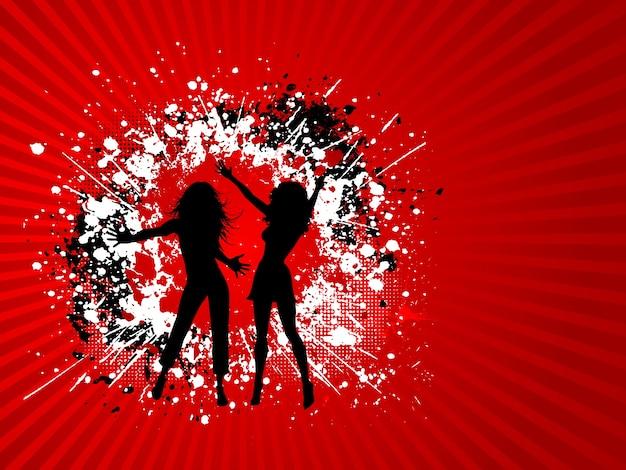 Silhouettes de deux femmes sur fond grunge