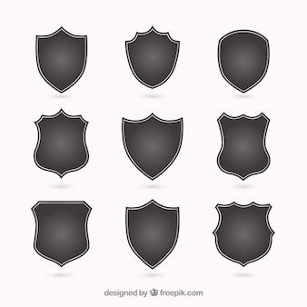 Silhouettes de différents boucliers