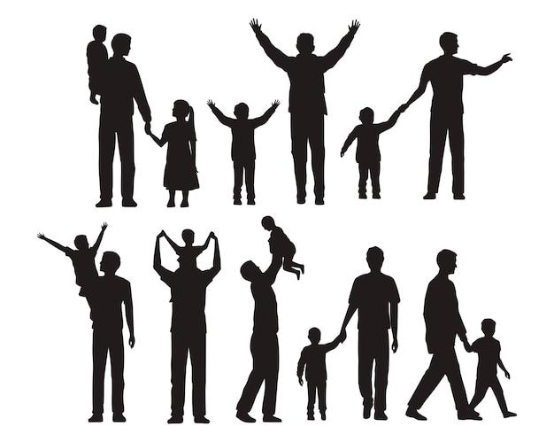 Silhouettes de dix-sept pères et enfants