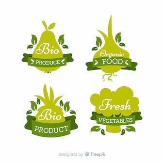 Silhouettes des étiquettes d'aliments biologiques