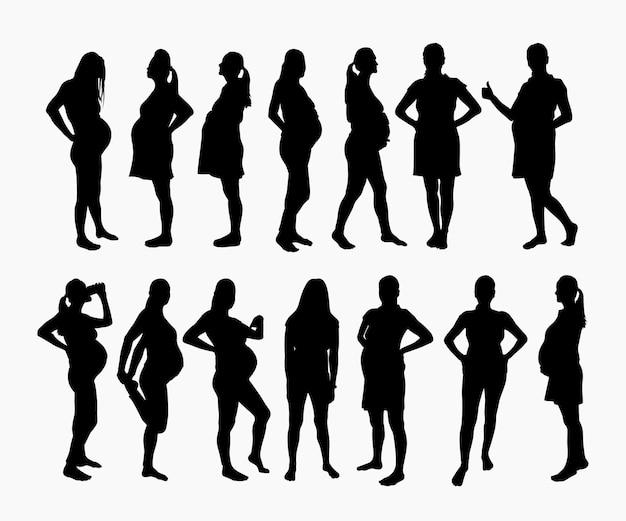 Silhouettes de femme dans des poses différentes