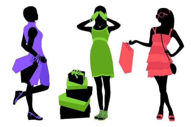 Silhouettes de femmes avec des sacs à provisions