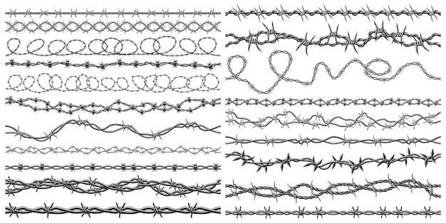 Silhouettes de fil de rasoir bordure métallique de fil de fer barbelé fortement ensemble de symboles vectoriels de clôture de fil de fer barbelé