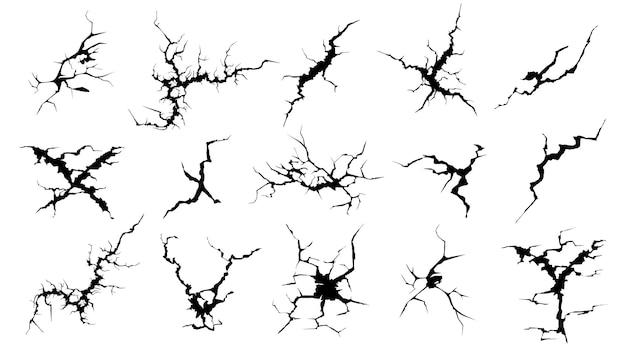 Silhouettes de fissures. verre d'écran fissuré dessiné à la main, surface endommagée et jeu de fissures noires de surface d'oeuf.