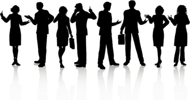 Silhouettes de gens d'affaires en diverses poses