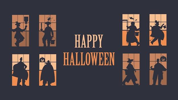 Silhouettes de gens dans différents costumes célébrant le concept de fête halloween heureux lettrage carte de voeux illustration vectorielle pleine longueur horizontale