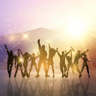 Silhouettes de gens du parti qui dansent sur un fond starburst