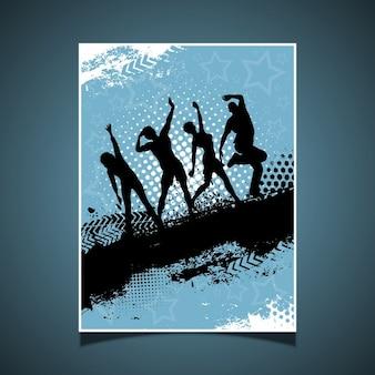 Silhouettes de gens qui dansent sur le fond grunge