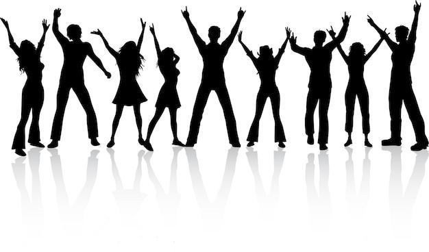 Silhouettes de gens qui dansent