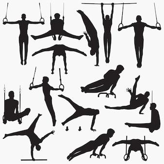 Silhouettes de gymnastique