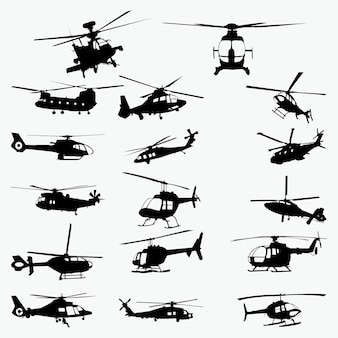 Silhouettes d'hélicoptères