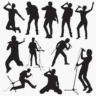 Silhouettes homme chanteur pop