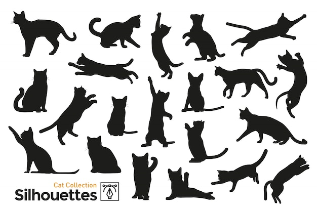 Silhouettes isolées de chats.