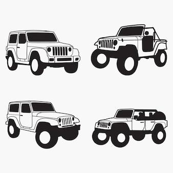 Silhouettes de jeep