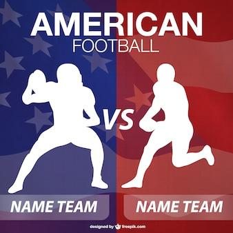 Silhouettes de joueur de football américain de fond