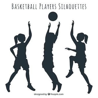 Silhouettes de joueurs de basket-ball emballent