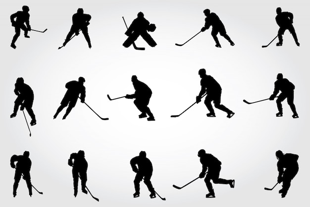 Silhouettes de joueurs de hockey