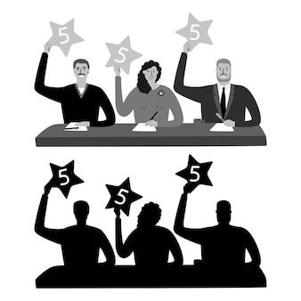 Silhouettes de jury de spectacle monochrome