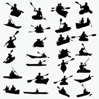 Silhouettes de kayak