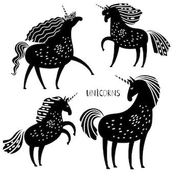 Silhouettes de licorne noire
