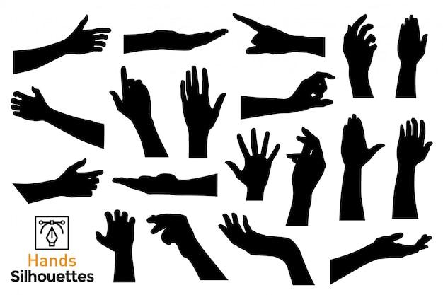 Silhouettes de mains isolées.
