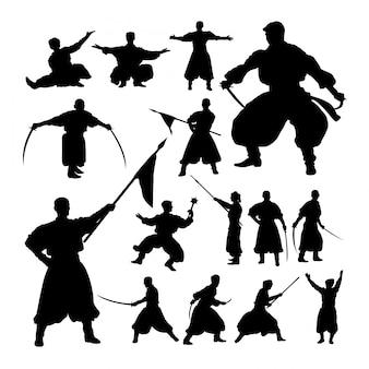 Silhouettes masculines de représentation théâtrale.