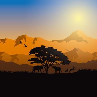 Silhouettes naturelles vector illustration.