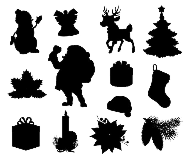 Silhouettes noires de vacances de noël. arbre de noël, coffrets cadeaux et cadeaux, père noël, bonhomme de neige et renne, chapeau de noël, cloche de noël, branches de houx et de pin, bas, chaussette, bougie et poinsettia