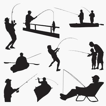 Silhouettes de pêcheur