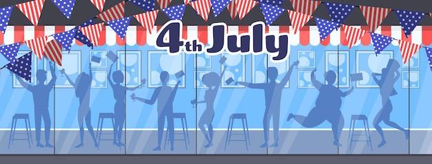 Silhouettes de personnes célébrant, bannière de célébration de la fête de l'indépendance américaine du 4 juillet