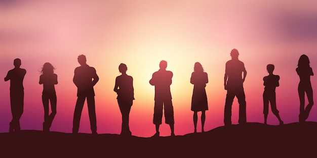 Silhouettes de personnes contre un ciel coucher de soleil