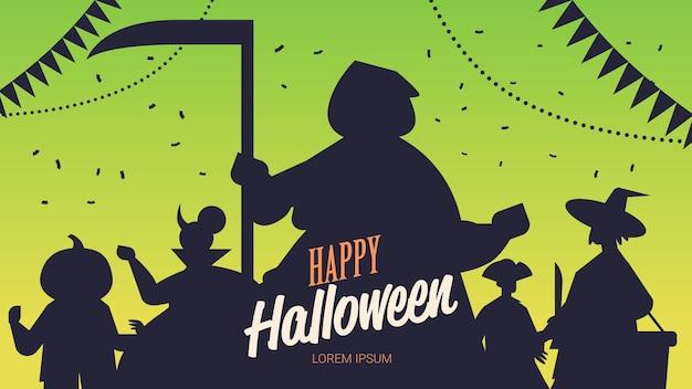Silhouettes de personnes dans différents costumes célébrant le concept de fête halloween heureux lettrage carte de voeux portrait illustration vectorielle espace copie horizontale