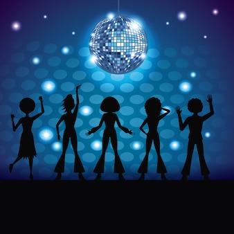 Silhouettes de personnes dansant en discothèque