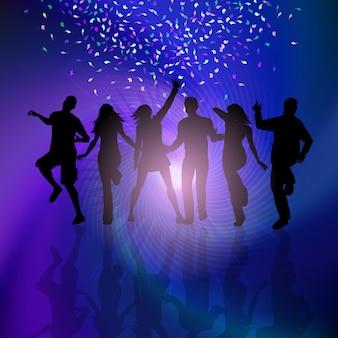 Silhouettes de personnes dansant sur le fond avec des confettis