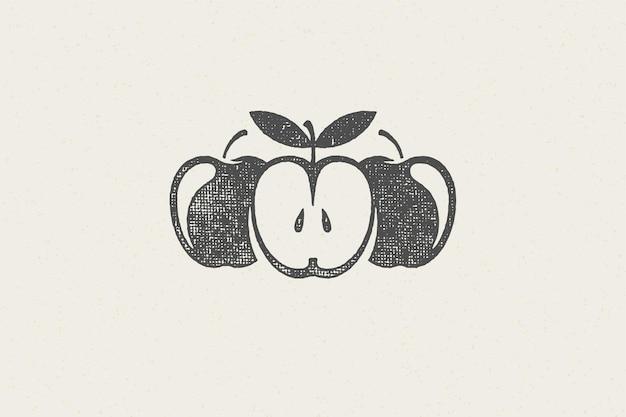 Silhouettes de pommes fraîches entières et coupées en deux pour timbre dessiné à la main logo alimentaire sain et biologique