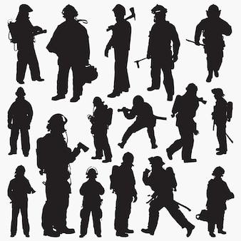 Silhouettes de pompier