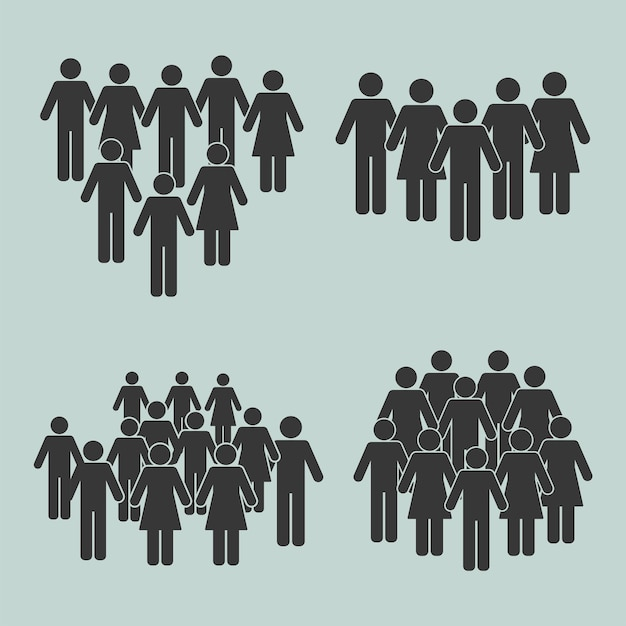 Silhouettes de population quatre icônes