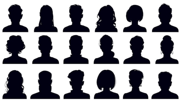 Silhouettes de portrait d'avatar. femme et homme fait face à des portraits, des avatars de personnages anonymes