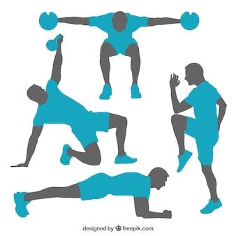 Silhouettes de poses de formation de gymnastique