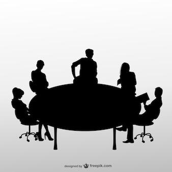 Silhouettes de réunion d'affaires