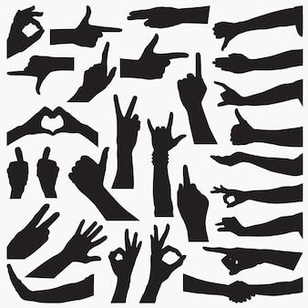 Silhouettes de signe de la main