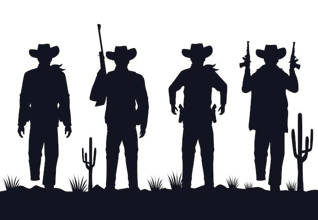 Silhouettes de silhouettes de silhouettes de cow-boys avec des personnages d'armes à feu dans le désert