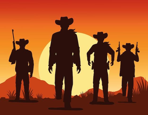 Silhouettes de silhouettes de silhouettes de cowboys avec des personnages d'armes à feu scène de paysage coucher de soleil