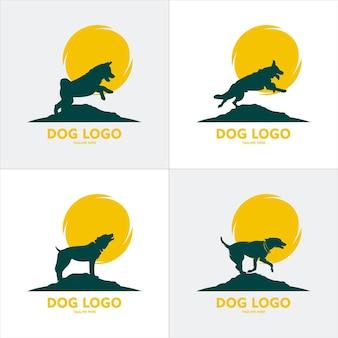 Silhouettes vectorielles de chiens lévriers courant debout et au trot