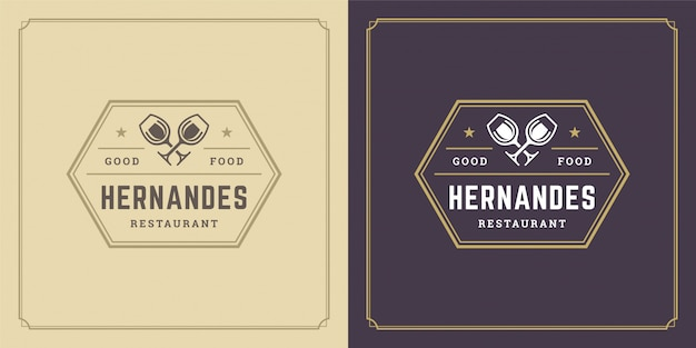 Silhouettes de verres de vin de logo de restaurant bonnes pour le menu de restaurant