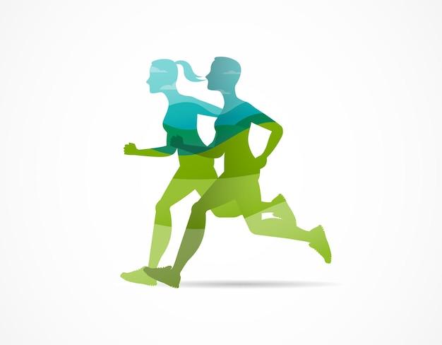 Silhouettes vertes de l'homme et de la femme qui courent dans un marathon