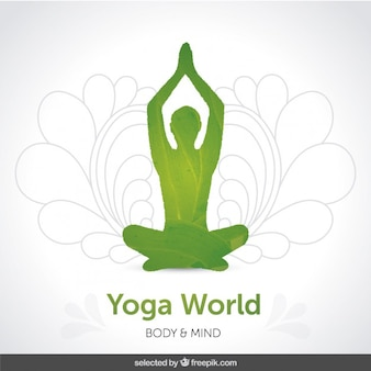 Silhoutte vert yoga fond