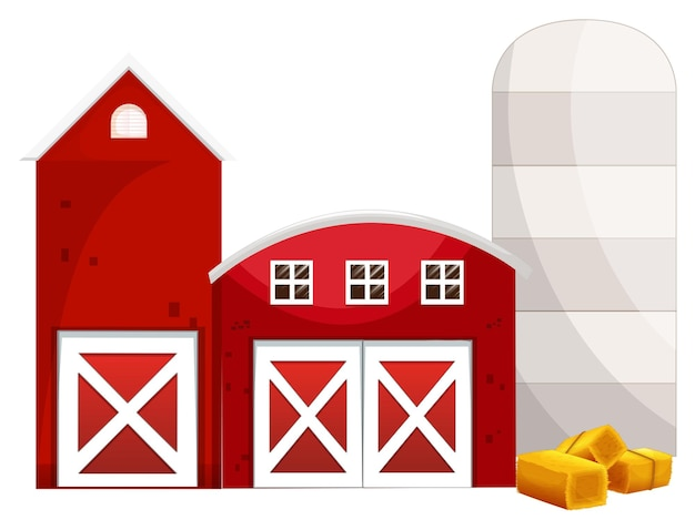 Silo et deux bâtiments rouges