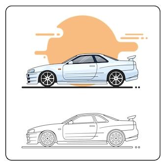 Silver sport car easy editable