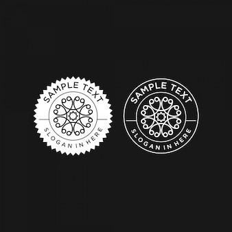 Simple cercle mandala vintage logo design premium modèle stock